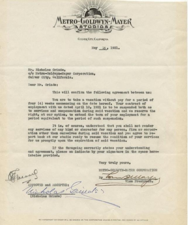 1931 mgm contract for B b contract